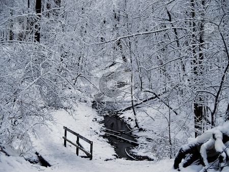 Winter Snow And Stream stock photo, 1st snowfall of the winter covers walking path by CHERYL LAFOND