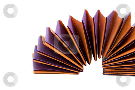 Paper Spring stock photo, Purple and orange paper spring on white. by Julie Bentz