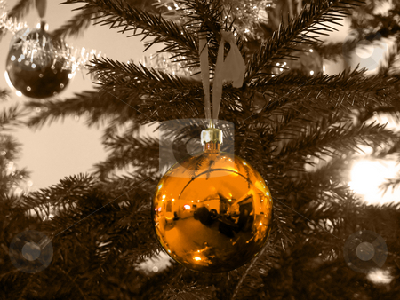 Christmas Ball - Golden stock photo, Closeup of a golden christmas ball och sepia background by Niklas Ramberg