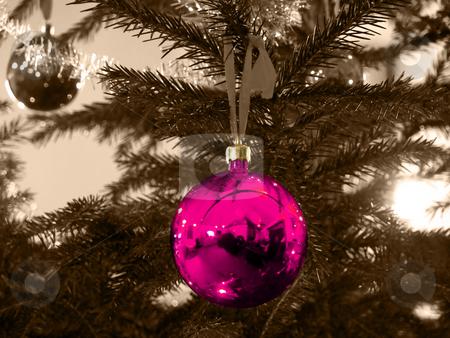 Christmas Ball - Deep Pink stock photo, Closeup of a deep pink christmas ball och sepia background by Niklas Ramberg