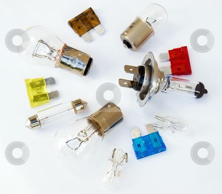 Car lightbulbs set stock photo, Car lightbulb and fuse set on a clear backgorund. by Sinisa Botas