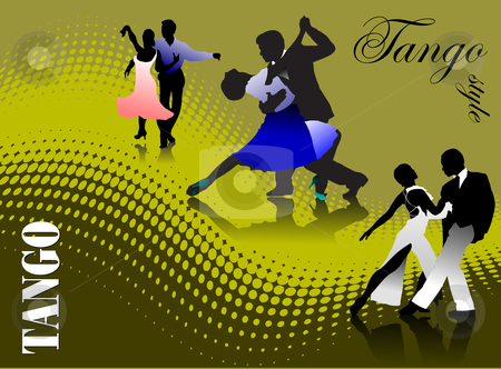 Three couples dancing a tango stock vector clipart, Three couples dancing a tango vector illustration by Leonid Dorfman