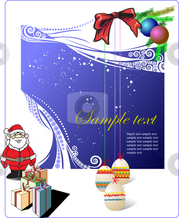Greeting card stock vector clipart, Greeting card for Merry Christmas or Happy New Year by Leonid Dorfman