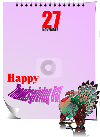 Thanksgiving Day stock vector clipart, Thanksgiving Day page calendar by Leonid Dorfman