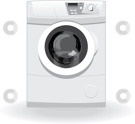 Washing machine stock vector clipart, Washing machine vector illustration by Leonid Dorfman