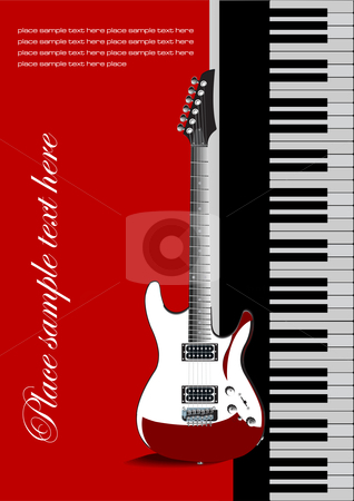 Piano with guitar stock vector clipart, Piano with guitar. Vectoral cover for brochure by Leonid Dorfman