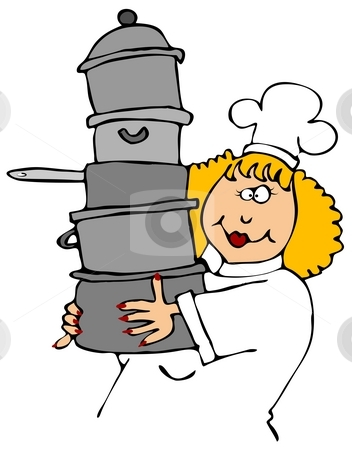 Chef Carrying Pots stock photo, This illustration depicts a female chef carrying a stack of assorted cooking pots. by Dennis Cox