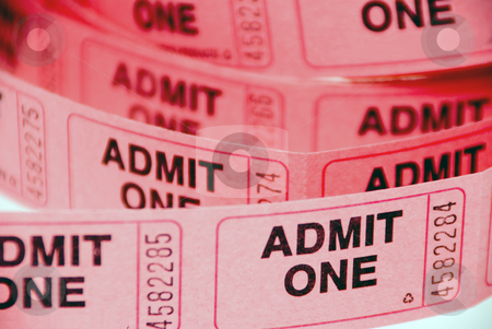 Admission Tickets stock photo, A small roll of retail admission tickets. by Robert Byron