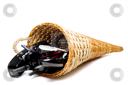 Communication Cornucopia stock photo, A wicker cornucpia filled with communications equipment. by Robert Byron