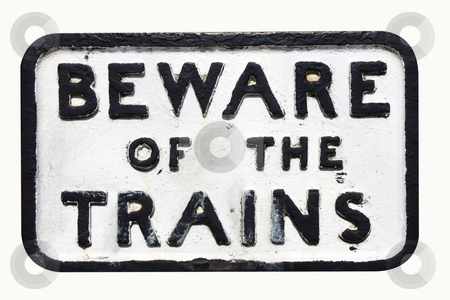 Warning sign for trains stock photo,  by Paul Phillips