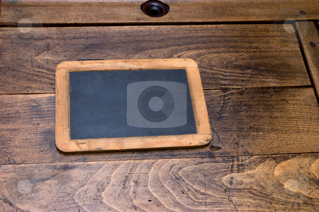 Ols School Days stock photo, Antique desk chalk-board on period desk by Paul Phillips