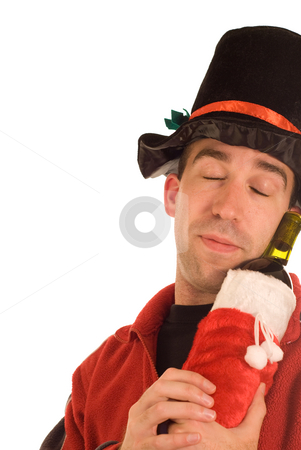 Alcoholic stock photo, A young man snuggling with his booze, isolated against a white background by Richard Nelson