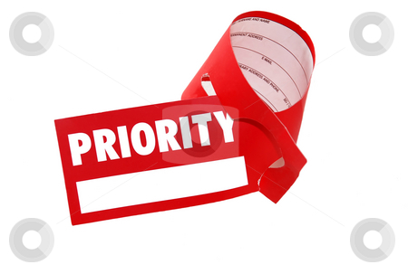 Priority label luggage - business class flight stock photo, Priority red paper sign for luggage isolated over white by Julija Sapic