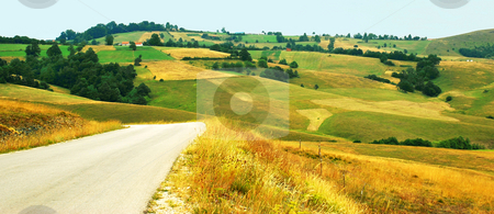 Rural  landscape stock photo, Green yellow meadows and fields over hills by Julija Sapic