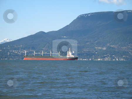 Large tanker on the ocean stock photo,  by Mbudley Mbudley