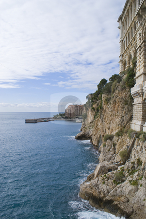 Monaco stock photo, View of the Mediterranean coast at Monaco. The building on the right is the Monaco museum. by Serge VILLA
