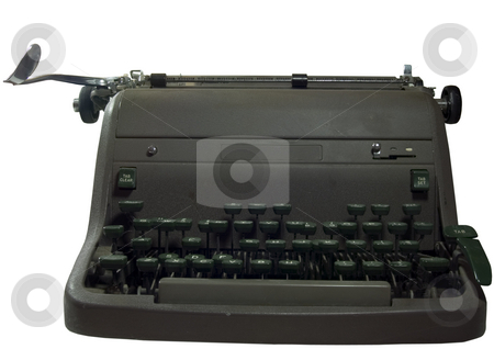 Old Typewriter  stock photo, A well used ancient antique green typewriter. by John McLaird