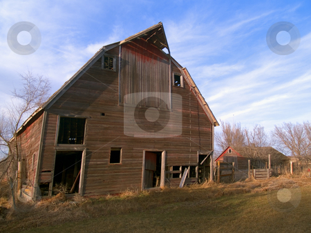 Old Barn stock photo, Old collapsing barn near Mitchell, South Dakoa by John McLaird