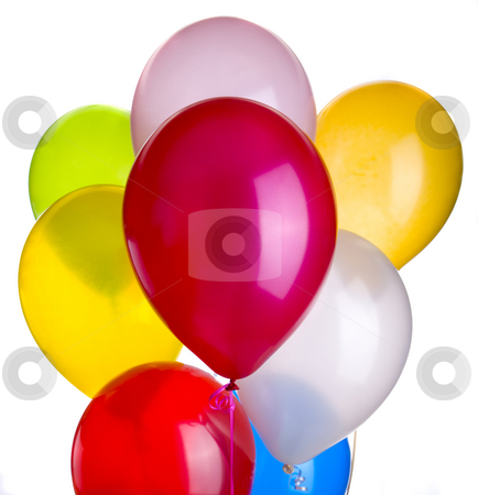 Eight Balloons stock photo, Eight balloons isolated on a white background by John McLaird