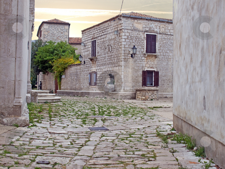 Street in antique Osor town stock photo, Osor, the ancient city on the island of Losinj in the Adriatic sea,Croatia. by Sinisa Botas
