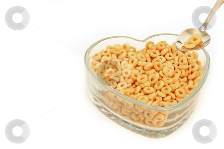 Healthy Breakfast stock photo, Heart shaped bowl with cerial and spoon consept to healthy eating by Jack Schiffer