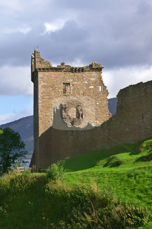 Urquhart castle stock photo, Famous scottisch urquhart castle at  loch ness on a hill by Karin Claus