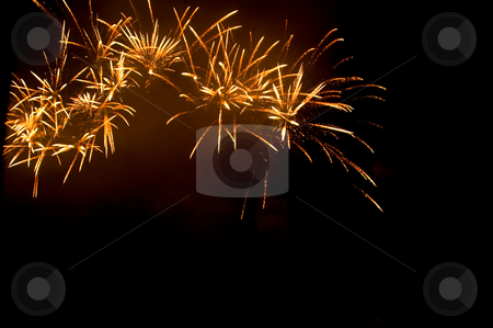Sparkling explosion stock photo, Fire works exploding high in the sky on a dark background by Karin Claus