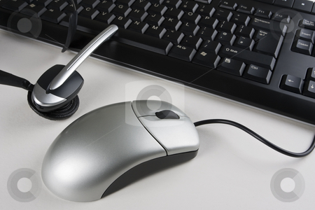 Helpdesk Equipment stock photo, A helpdesk headset, keyboard and mouse by Steve Smith