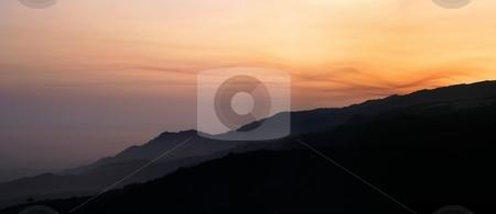 Hillside Sunset stock photo, Beautiful sunset color landscape north of Santa Barbara. by Henrik Lehnerer