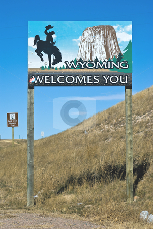 Wyoming border with Colorado stock photo, Welcome sign with Obama-Biden sticker in the corner (Editorial Use Only) by RCarner Photography