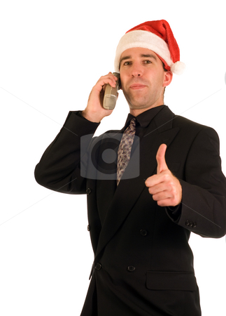 Good Job stock photo, A Christmas employee giving the thumbs up signal to someone by Richard Nelson