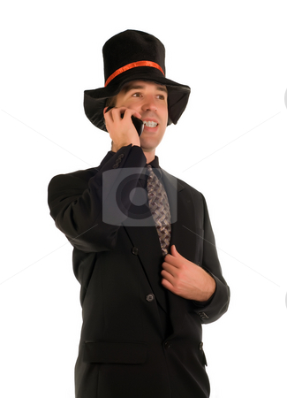 Scrooge On The Phone stock photo, A happy scrooge talking on his cell phone by Richard Nelson