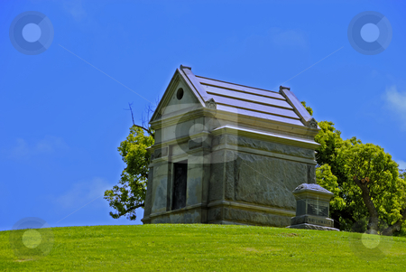 Mausoleum and Grave Marker stock photo, Mausoleum and Grave Marker by Craig Steven Thrasher
