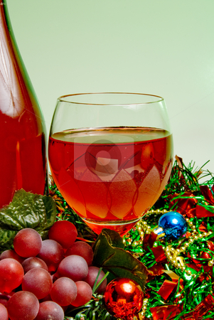 Holiday Wine stock photo, A glass of Christmas wine for the holidays. by Robert Byron