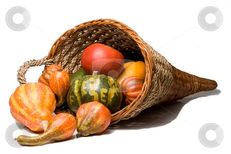 Cornucopia stock photo, The traditional Thanksgiving harvest celebration wicker cornucopia. by Robert Byron
