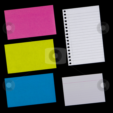 Various Pieces of Paper stock photo, Variety of sticky notes and other pieces of paper.  Textures / backgrounds for use in your designs.  Provide a grunge effect. by Inge Schepers