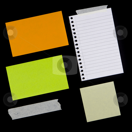 Various Pieces of Paper and Tape stock photo, Variety of sticky notes and other pieces of paper, some with tape.  Textures / backgrounds for use in your designs.  Provide a grunge effect. by Inge Schepers