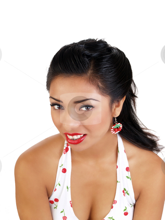 Young hispanic woman portrait closeup red lipstick stock photo, Young latina woman with red lipstick cherry earrings by Jeff Cleveland