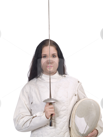 Young Woman in Fencing Jacket with Foil and Mask stock photo, Young Woman in Fencing Jacket with Foil and Mask Saluting by Jeff Cleveland