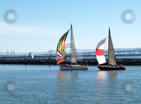 Two Sailboats under Spinnakers running into port stock photo, Sailboats under spinnaker sails running into the marina by Jeff Cleveland