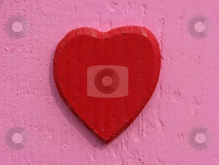Red Wooden heart stock photo, Red Wooden heart by Lothar Hinz
