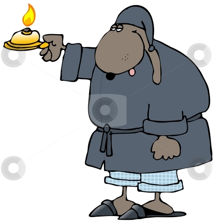 Sleepy Dog Holding A Candle stock photo, This illustration depicts a dog in sleepwear holding out a candle. by Dennis Cox