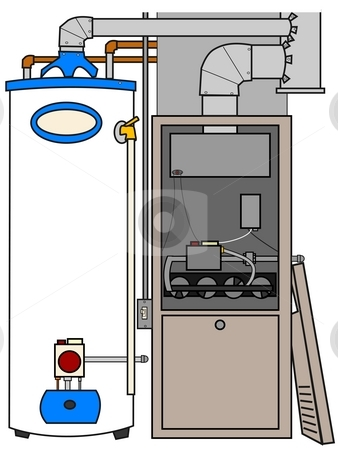 Furnace And Water Heater stock photo, This illustration depicts a natural gas furnace and water heater. by Dennis Cox