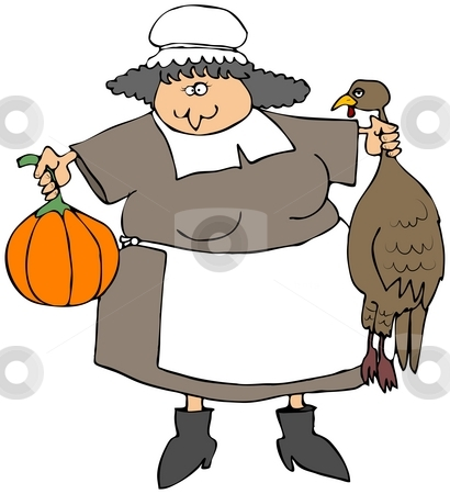 Pilgrim Woman stock photo, This illustration depicts a Pilgrim woman holding a turkey and a pumpkin squash. by Dennis Cox