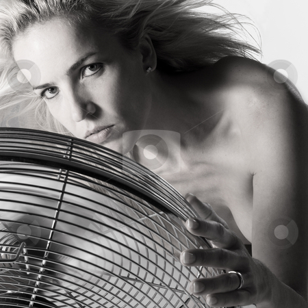 In front of the ventilator stock photo, Portrait of a model sitting in front of a ventilator by Frenk and Danielle Kaufmann