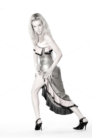 Beautiful woman dressed in a long latex dress stock photo, Beautifull woman in a long latex dress by Frenk and Danielle Kaufmann