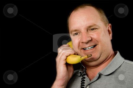 Banana Phone stock photo, A telephone made out of a banana. by Robert Byron