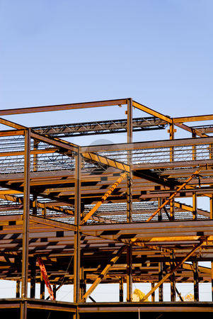 Steel Building Frame Construction stock photo, The steel frame of a building under construction. by Robert Byron