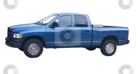 4 door blue truck stock photo, Four door blue pickup truck with diamond plate toolbox on white by Lee Barnwell