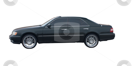 Black 4 door sedan stock photo, Black four door sedan with tinted windows isolated on white by Lee Barnwell
